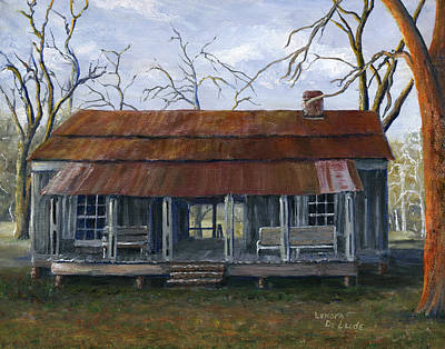 Hand Painted Art Dogtrot House In Pleasant Hill Louisiana Poster