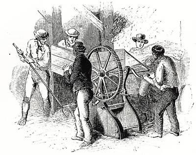 Hand-powered Threshing Machine Poster by Universal History Archive/uig