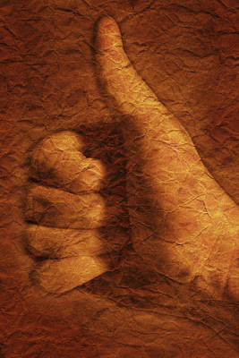 Hand With Thumbs Up Sign Poster