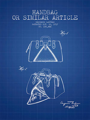 Handbag Or Similar Article Patent From 1937 - Blueprint Poster by Aged Pixel
