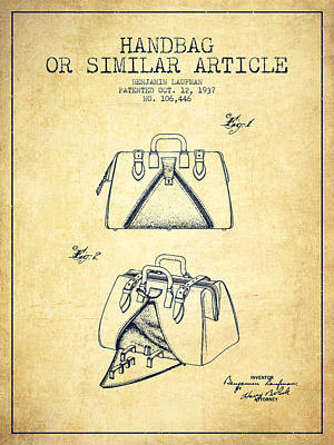 Handbag Or Similar Article Patent From 1937 - Vintage Poster by Aged Pixel