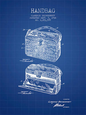 Handbag Patent From 1936 - Blueprint Poster by Aged Pixel