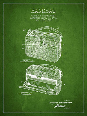 Handbag Patent From 1936 - Green Poster by Aged Pixel