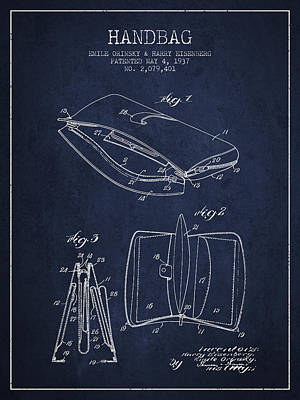 Handbag Patent From 1937 - Navy Blue Poster by Aged Pixel