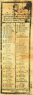 Handbill: Casualties, 1775 Poster by Granger