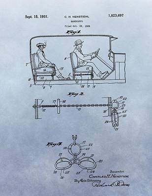 Handcuffs Law Enforcement Patent Poster by Dan Sproul