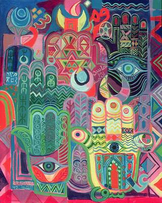 Hands As Amulets II, 1992 Acrylic On Canvas Poster by Laila Shawa