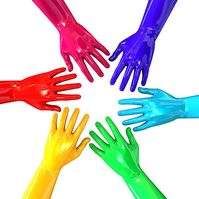 Hands Colorful Circle Reaching Inwards Poster