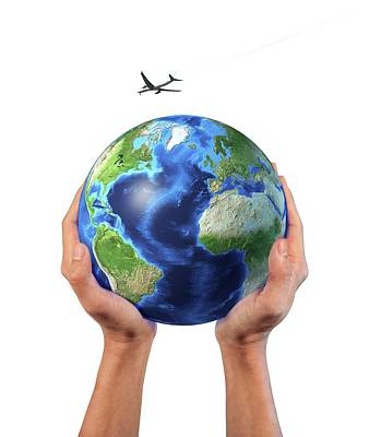 Hands Holding Globe With Aeroplane Poster by Leonello Calvetti