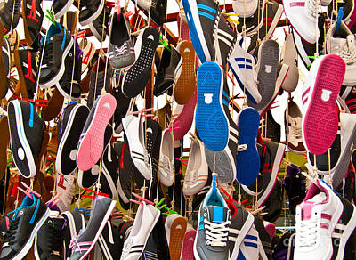 Hanged Colorful Sport Shoes Poster by Leyla Ismet