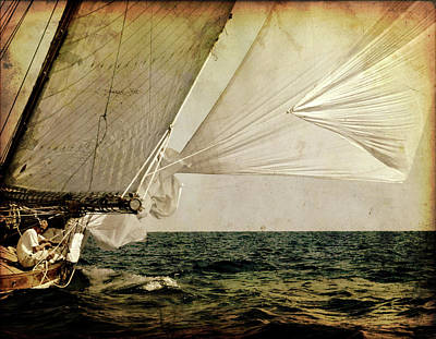Poster featuring the photograph Hanged On Wind In A Mediterranean Vintage Tall Ship Race  by Pedro Cardona