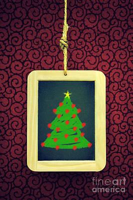 Hanged Xmas Slate - Tree Poster by Carlos Caetano
