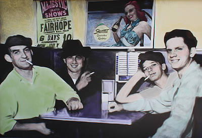 Poster featuring the digital art Hanging At The Diner 1949 by Deborah Boyd