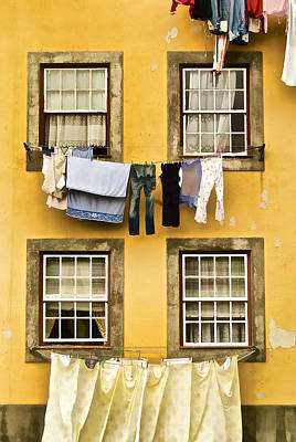 Hanging Clothes Of Old World Europe Poster by David Letts
