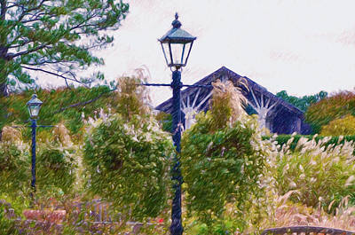 Hanging Flowers With An Old Fashioned Lantern Poster