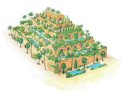 Hanging Gardens Of Babylon Poster by Gary Hincks