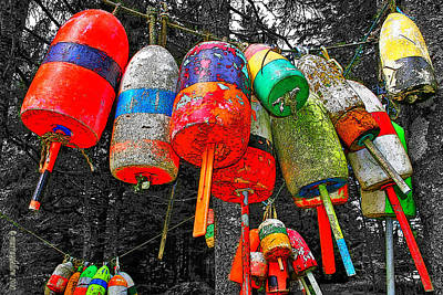 Hanging Lobster Buoys Poster
