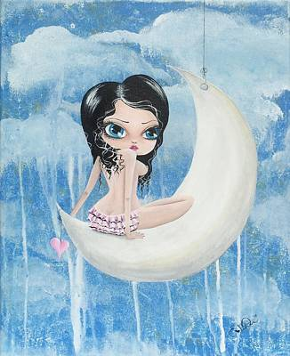 Hanging On The Moon Poster by Oddball Art Co by Lizzy Love