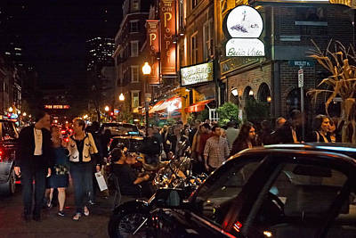 Hanover Street Nights - Boston Poster by Joann Vitali