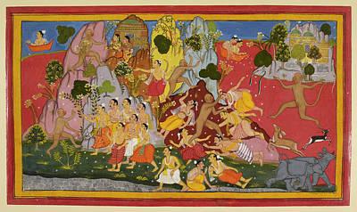 Hanuman Gathers More Magic Herbs Poster by British Library