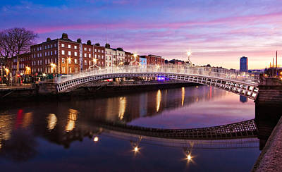 Poster featuring the photograph Hapenny Bridge At Dawn - Dublin by Barry O Carroll