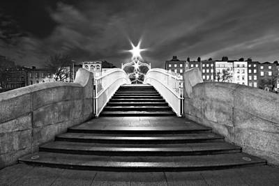 Poster featuring the photograph Ha'penny Bridge Steps At Night - Dublin - Black And White by Barry O Carroll