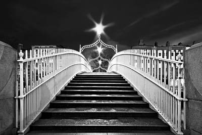 Poster featuring the photograph Ha'penny Bridge Steps - Dublin - Black And White by Barry O Carroll