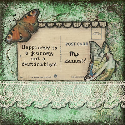 Happiness Is A Journey Inspirational Mixed Media Folk Art Poster