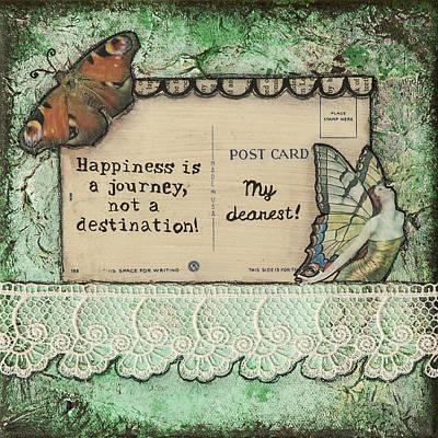 Happiness Is A Journey Inspirational Mixed Media Folk Art Poster by Stanka Vukelic