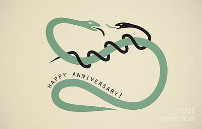 Happy Anniversary Snakes Poster by Igor Kislev