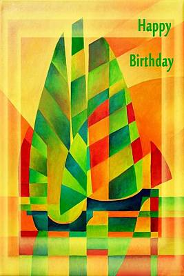 Happy Birthday Chinese Junks Sunset Sails And Shadows Poster by Tracey Harrington-Simpson