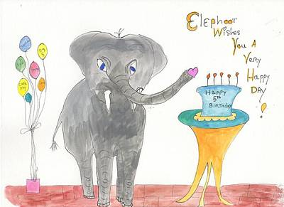 Poster featuring the painting Happy Birthday From Elephoot by Helen Holden-Gladsky