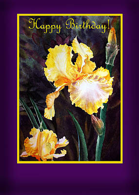 Happy Birthday Yellow Iris Design Poster by Irina Sztukowski