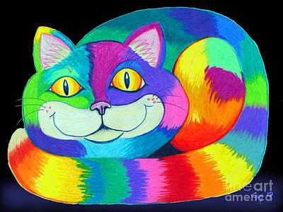 Happy Cat Dark Back Ground Poster by Nick Gustafson