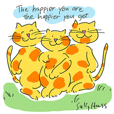 Happy Cats Poster by Sally Huss