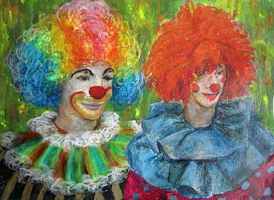 Poster featuring the painting Gemini Clowns by Jieming Wang