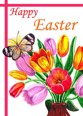 Happy Easter Butterfly Poster