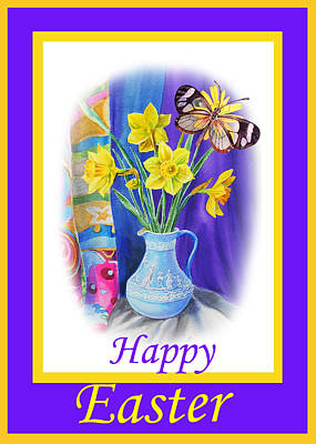Happy Easter Daffodils Poster