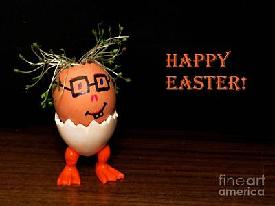 Happy Easter Greeting Card. Funny Eggmen Series Poster