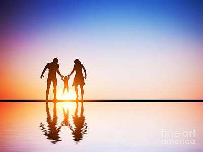 Happy Family Together Parents And Their Child At Sunset Poster by Michal Bednarek