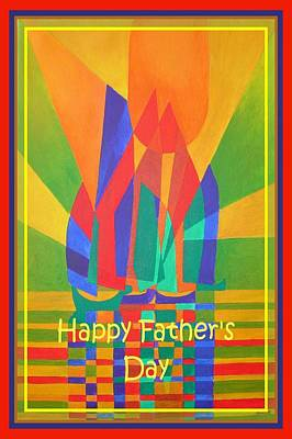 Happy Father's Day Dreamboat Cubist Junk In Primary Colors  Poster