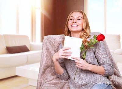 Happy Female Enjoying Greeting Card Poster
