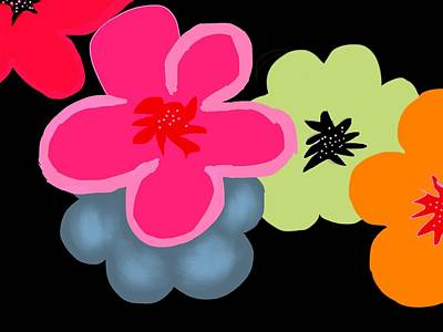 Poster featuring the digital art Happy Flowers Pink by Christine Fournier