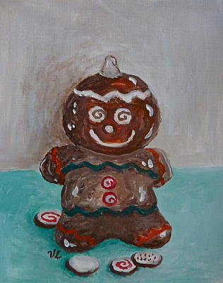 Poster featuring the painting Happy Gingerbread Man by Victoria Lakes