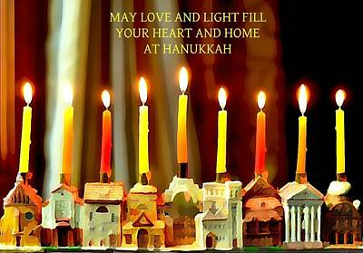 Happy Hanukkah 5 Poster by Fraida Gutovich