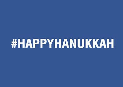 Happy Hanukkah Hastag Poster by Linda Woods