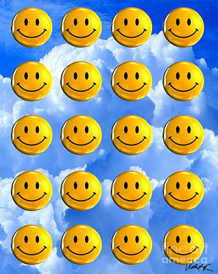 Happy Happy Sunshine Day Bubble Smile Smiley Poster Print Original Signed Art Poster