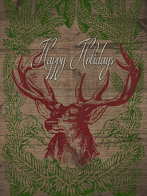 Happy Holidays Deer Poster by South Social Studio