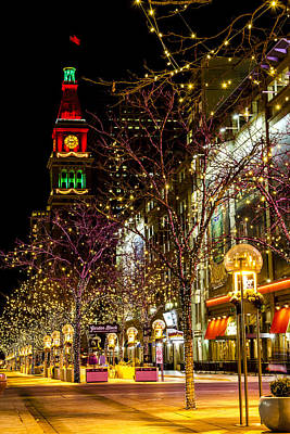 Happy Holidays Downtown Denver Co Poster by Teri Virbickis