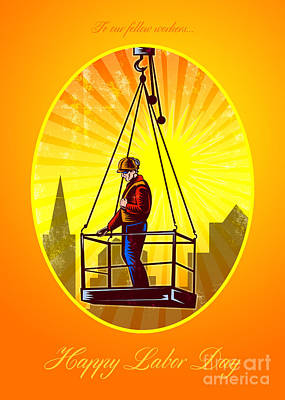 Happy Labor Day Our Fellow Workers Greeting Card Poster by Aloysius Patrimonio